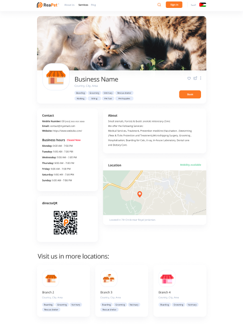 booking list of pet care businesses directoRea page